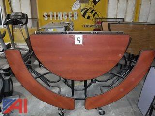 Round Folding Cafeteria Tables with (4) Bench Seat