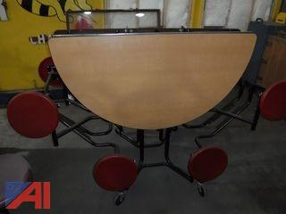 Round Folding Cafeteria Tables with (8) Regular Seats