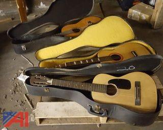 Various Acoustic Guitars & Cases