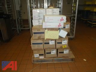 (#100)  Pallet of Medical Gloves and Hospital Bibs