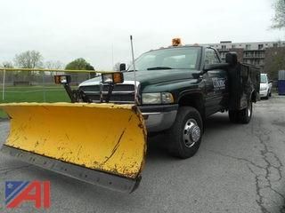 2001 Dodge Ram 3500 Pickup Truck with Utility Body and Plow