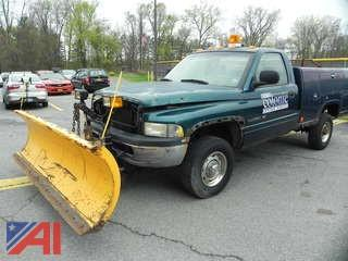1999 Dodge Ram 2500 Pickup Truck with Utility Body and  Plow