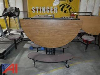 Round Folding Cafeteria Tables with (2) Bench Seats and (4) Regular Seats