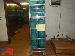 (#107) Rack with Plates Food Serving Covers