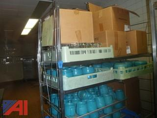 (#109) Rack with Assorted Cups, Glasses, Dishes