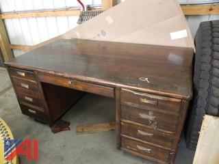 (#9) Vintage Wooden Office Desk