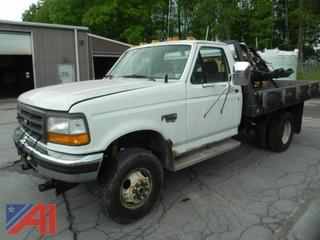 1996 Ford F350 XL Flatbed Pickup Truck with Plow