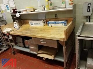 Butcher Block Food Prep Table
