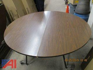 "60"" Brown Round Folding Tables"