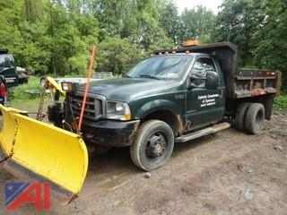 2002 Ford F450 XL Super Duty Dump Truck with Plow