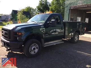 2008 Ford F350 XL Super Duty Pickup Truck with Utility Body and Plow