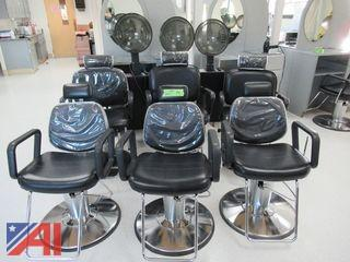 Hydraulic Barber Chairs/Hair Styling Work Stations Chairs and Milo Hooded Hair Dryers
