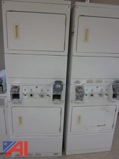 Duo Stacked Kenmore Heavy Duty Commercial Coin Operated Electric Dryers