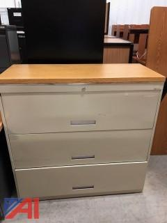 3 Door Lateral File Cabinet with Wood Top