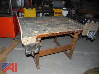 (#7) Wooden Work Bench with (2) Vises