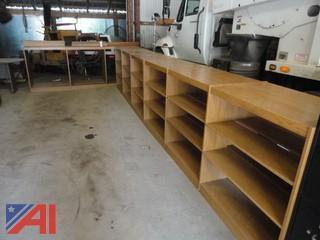 Oak Library Book Shelving Unit