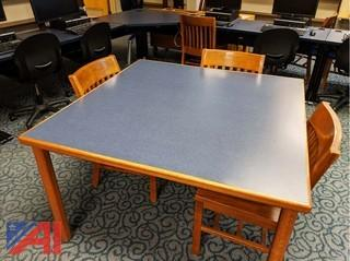 Blue Laminated Oak Banded Tables