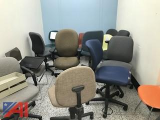 Various Office Chairs & Blue Folding Chairs