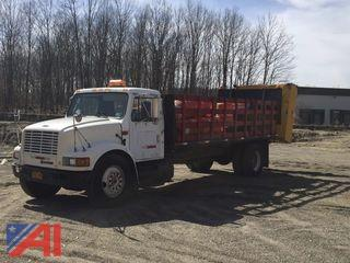 1995 International 4700 Stake Truck with Crash Cushion and Arrow Board