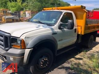 2007 Ford F450 Super Duty Pickup Truck with Dump Box and Plow