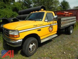 1997 Ford F350 XL Pickup Truck with Wood Rack Bed