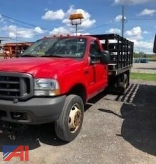 2003 Ford F550 Stake Truck with Plow