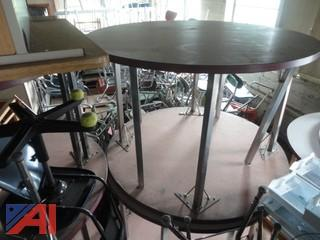 Round Metal Leg Dining or Work Tables