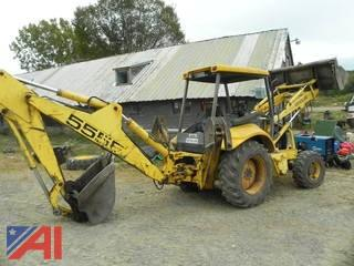 2001 New Holland 555E Backhoe with Clam Front Bucket