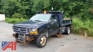 2000 Ford F550 Pickup Truck with Dump Box and Plow