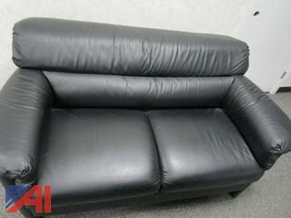 Leather Couch, Leather Chairs and Blue First Aid Couch