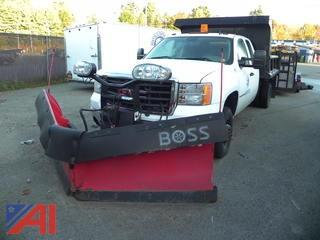 (PO-7) 2009 GMC Sierra 3500HD Extended Cab Dump Truck with Plow