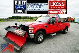 2008 Ford F250 XL Super Duty Super Cab Pickup Truck with Plow and Spreader