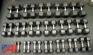 Rubber Hex Dumbbells & Three Tier Rack