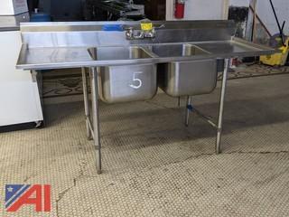 SS Double Bowl Sink, Drain Board, Faucet