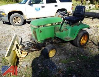 John Deere 318 Garden Tractor with Snow Blade
