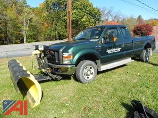 (T-11) 2008 Ford F250 Super Duty Extended Cab Pickup Truck with Plow