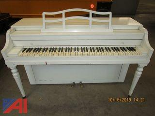 Baldwin White Upright Piano and Tables
