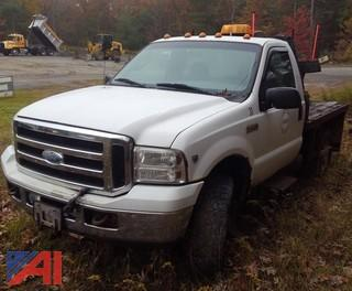 2006 Ford F350 XL Super Duty Flatbed Truck with Plow