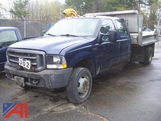 2002 Ford F550 Super Duty Crew Cab Dump Truck with Plow