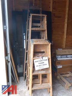 (1564) Misc. Lengths of Wood Step Ladders
