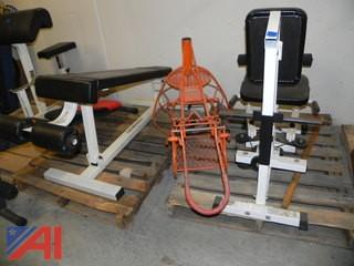 (#15) Various Weight Equipment and Basketball Return