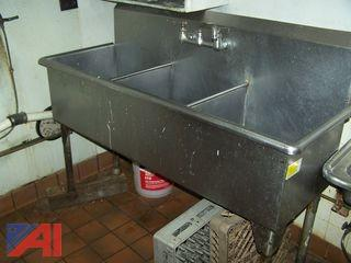 Stainless Steel 3 Bay Sink with Faucet