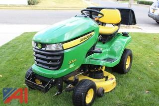 "John Deere X300 42"" Mower with Snowplow and Snowblower Attachment"