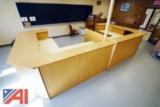 Custom Built Oak Matching Desk Stations