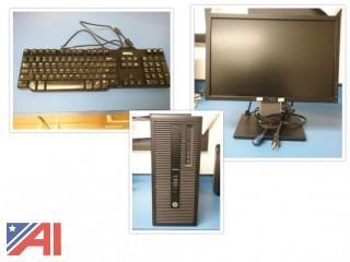 """HP EliteDesk 800 G1 Desktop CPUs with 19"""" Monitors & Keyboards"""