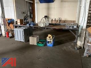 Large Industrial Metal Table on Casters
