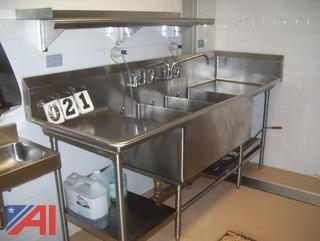 Stainless 3 pot sink