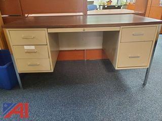Shelves, Metal Desk, Filing Cabinet and More