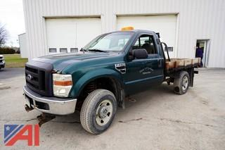 2008 Ford F250 XL Super Duty Flatbed Truck with Plow