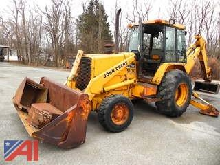 1988 John Deere 510C Turbo Backhoe Loader with Attachments